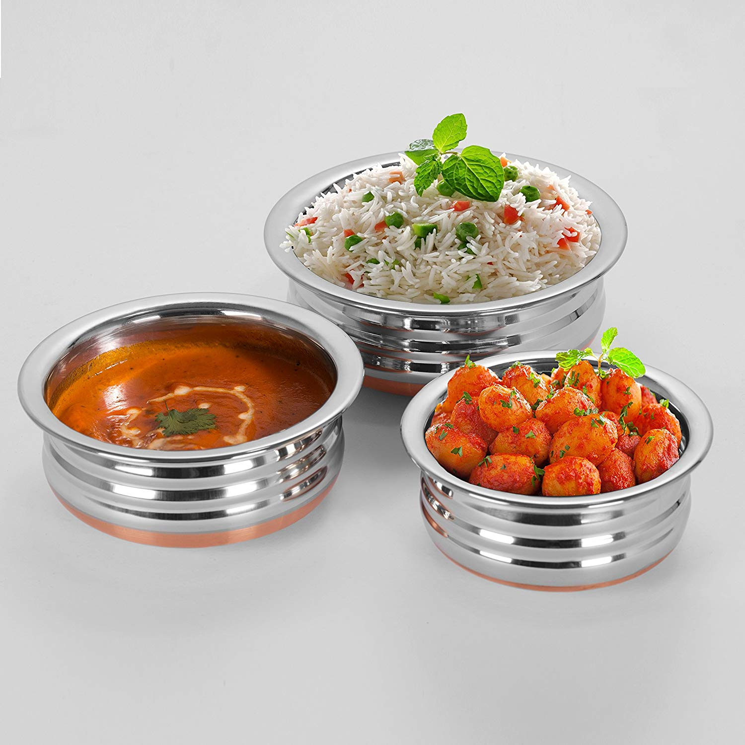 Sumeet Stainless Steel Copper Bottom Urli/Handi / Pot For Cookware & Serveware - 3 Pcs Set (1 No 1.3L, 1 No 1.9L, 1 No 2.7L Prabhu Chetty Without Lid.)