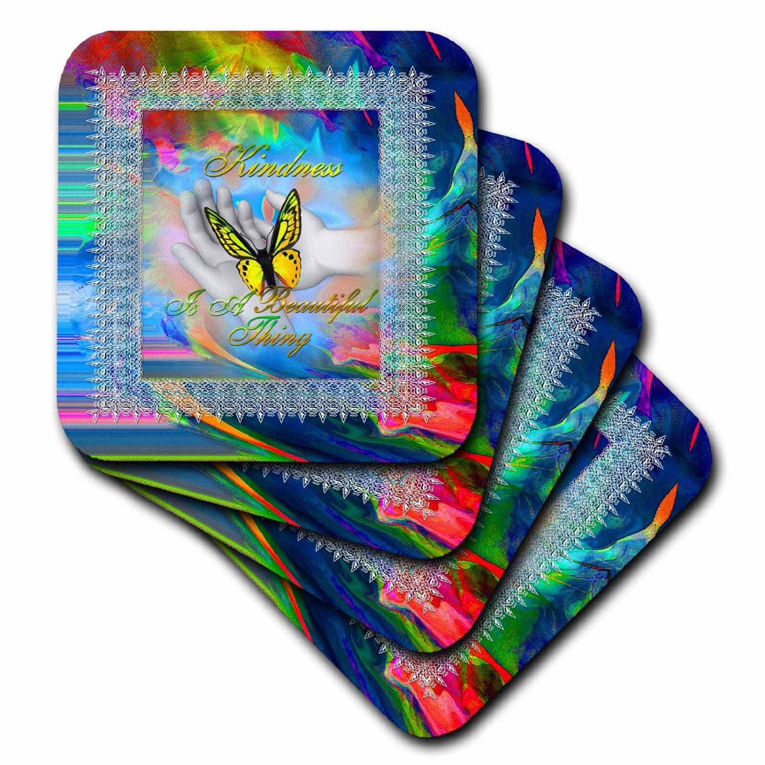 Spiritual Awakenings-Abstracts - Beautiful fractal abstract and Kindness Saying - set of 8 Coasters - Soft (cst_210690_2)