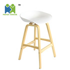 (YOUGA-A) Modern PP plastic bar stool with wood legs