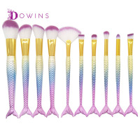 Professional 10 PCS Mermaid Makeup Brushes Set Foundation Blending Powder