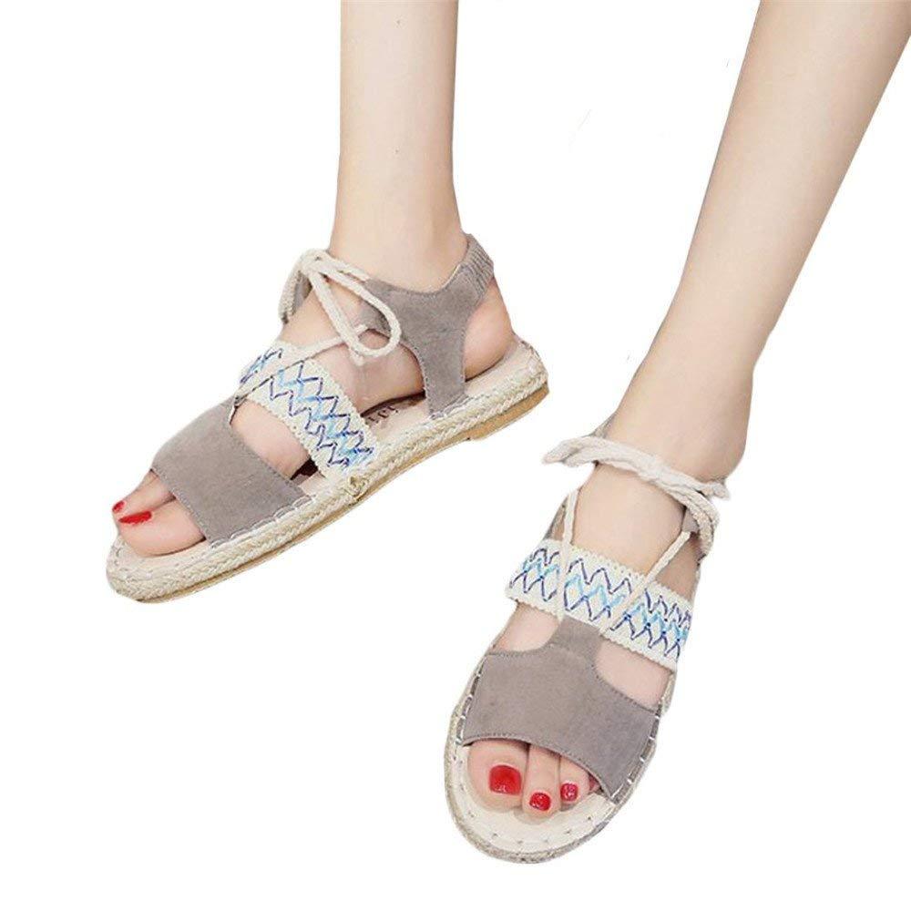 Fashion Women Girl Rome Sandals Bandage Flat Bottom Espadrilles,Wensy Basic Low Holiday Sandals (37, Gary)