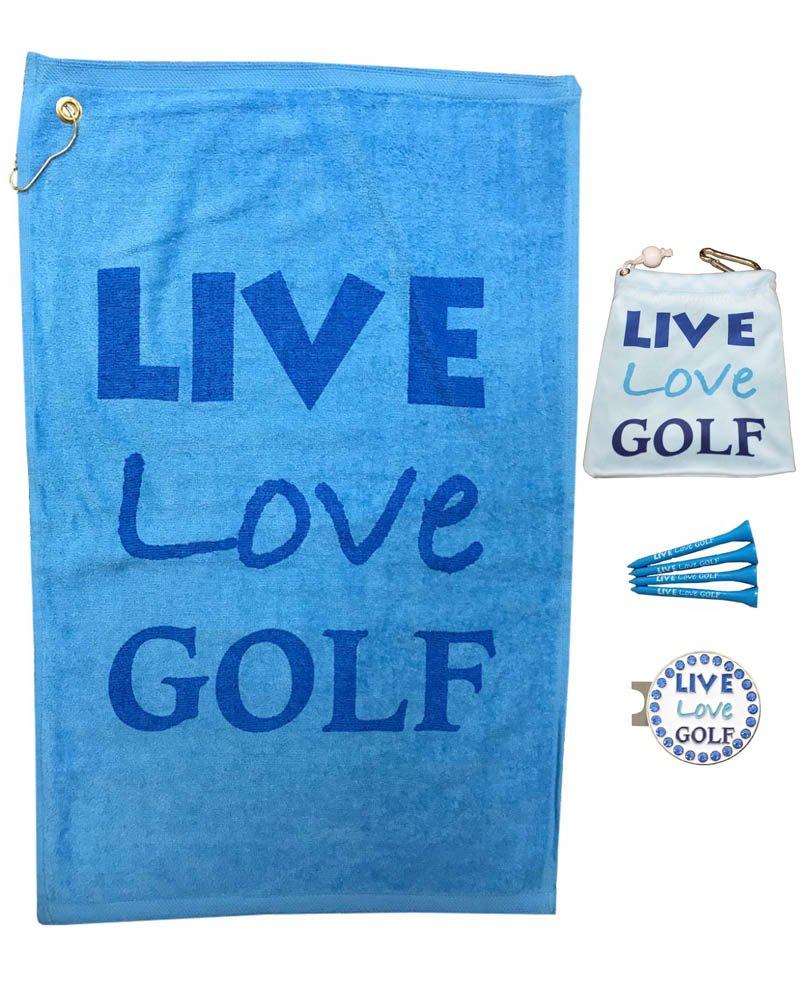 Giggle Golf Par 3 - Live Love Golf Towel, Tee Bag Bling Ball Marker Hat Clip - Perfect Golf Gift Women