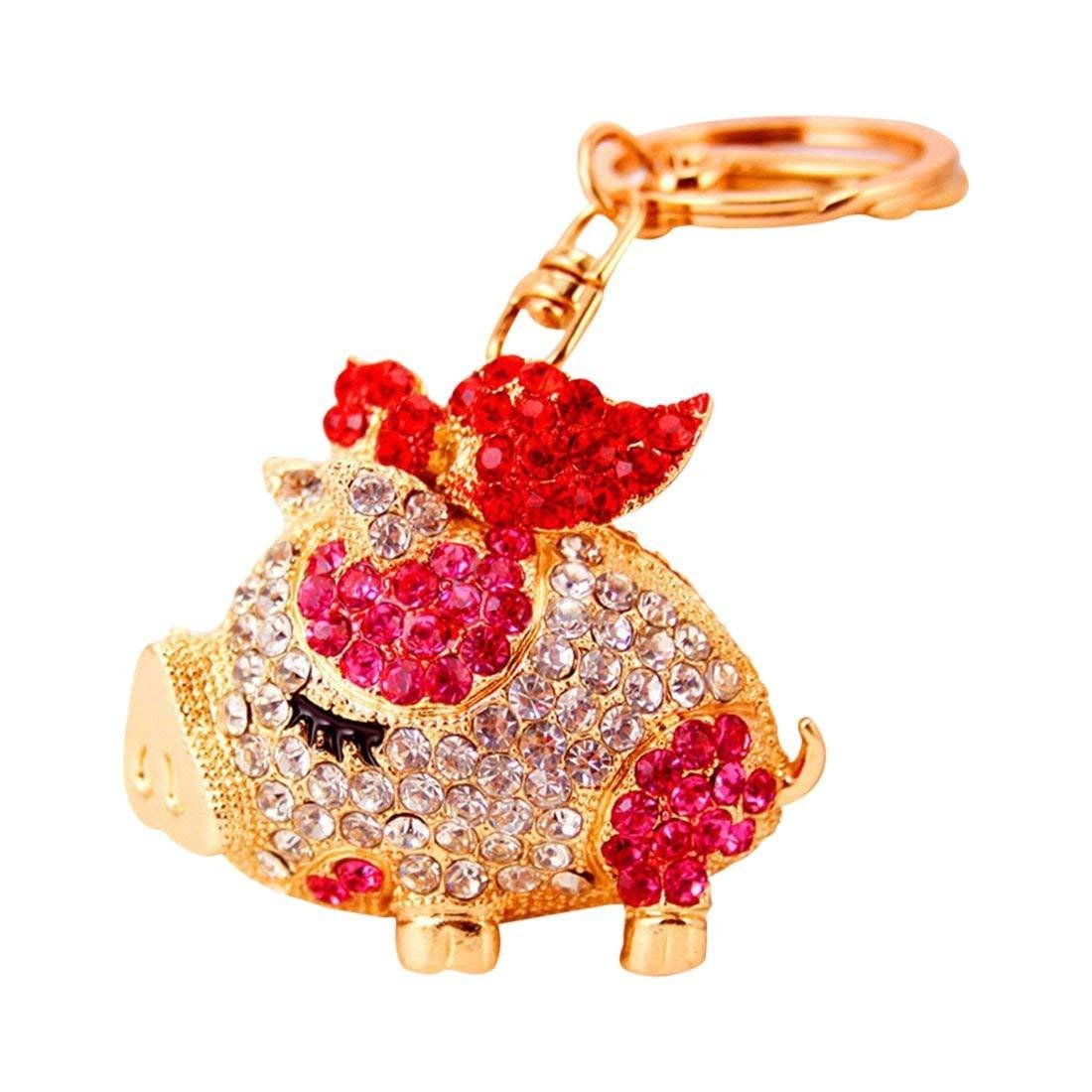 SODIAL(R) Fashion Novelty Gifts Trinket Rhinestone Cute Bow Pig Keychain, Women Bag Pendant Keyring (red)