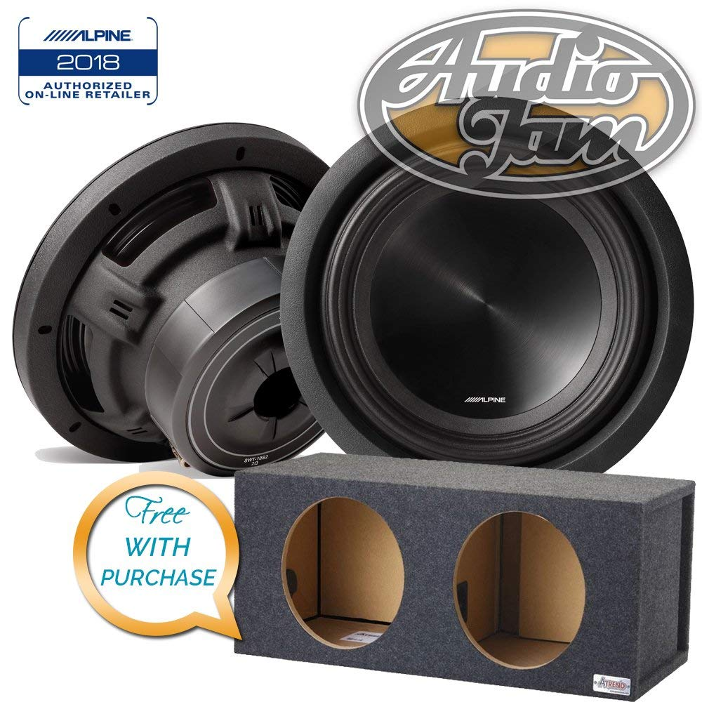 Two Alpine SWT-10S2 10-inch Car Subwoofers (2Ω) with Vented Subwoofer Enclosure Box