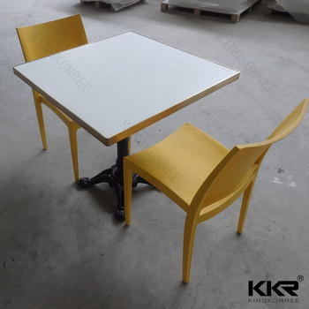 China Korean Table Top , Solid Surface Tables With Iron Coat Base