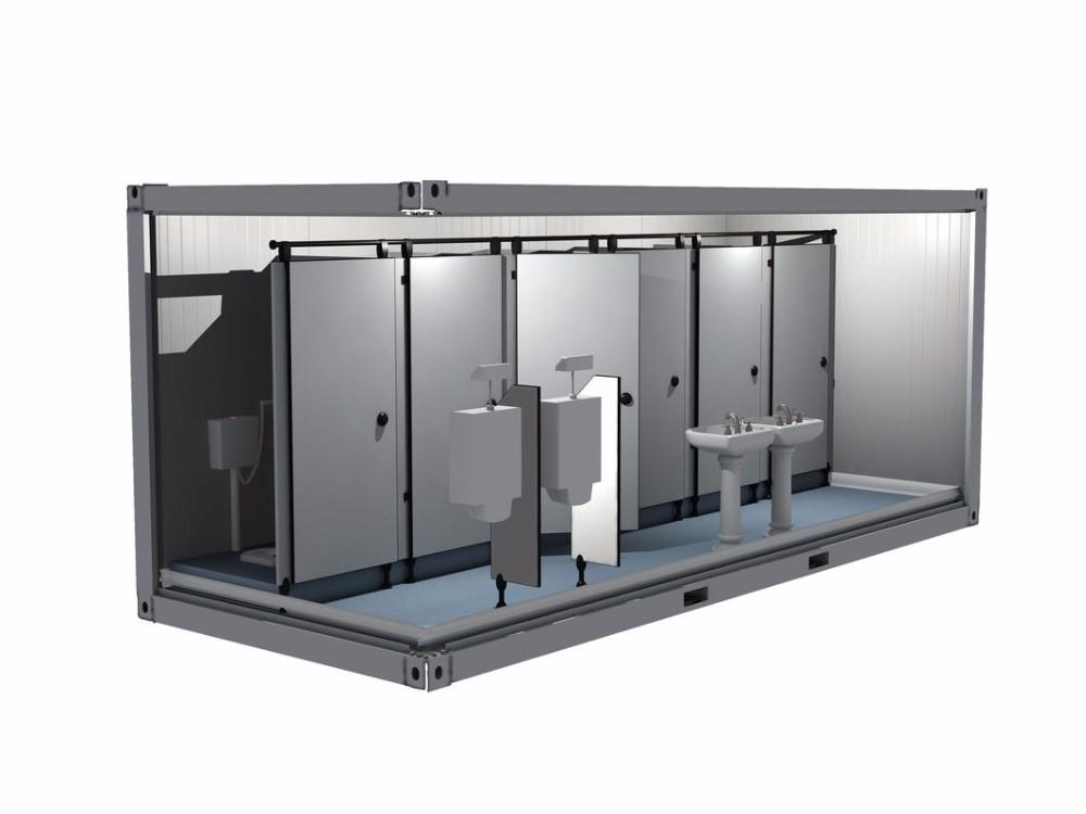Portable Badkamer Cabine : Beweegbare container badkamer platte dak staal draagbare toiletten