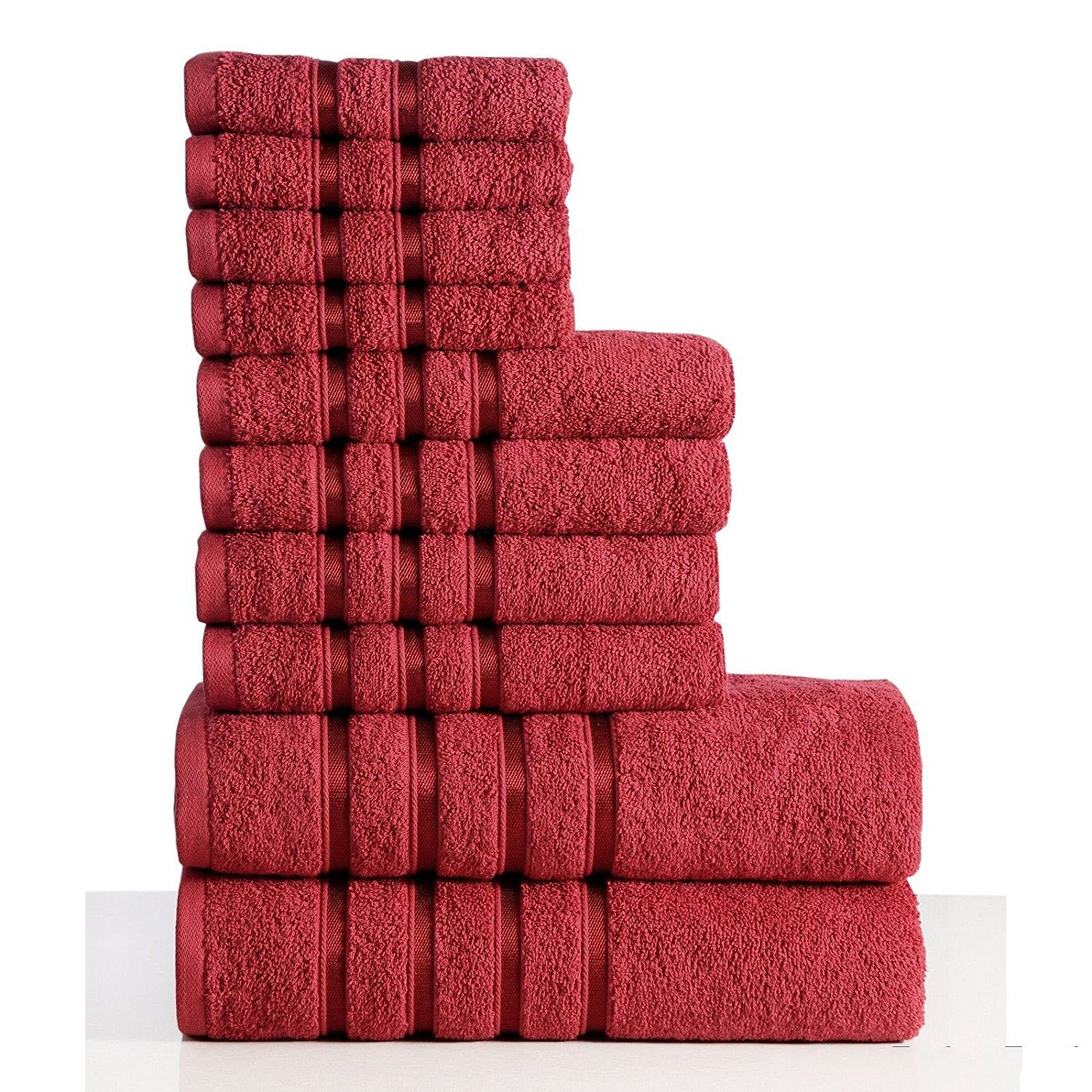 100% Combed Cotton 550 GSM 10-piece Towel Set Bath Towel Hand Face Washcloth Shower Bathroom (Red)