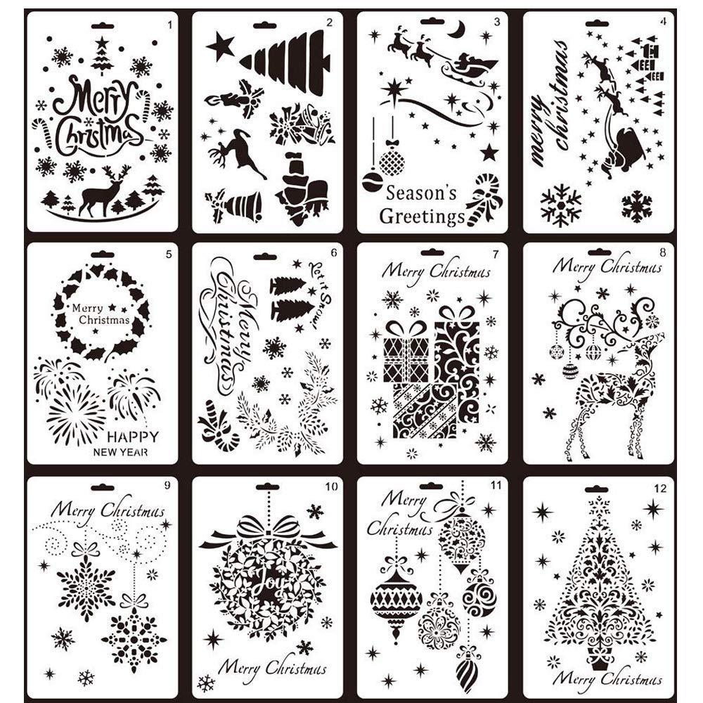 Christmas Painting Stencils,12 pcs Creative Christmas Trees/Reindeer Boots Angel/Snowflake Snowman Santa Claus Bullet Journal Stencil Set for Journaling, Scrapbooking, DIY Cards Making,Plastic Shape