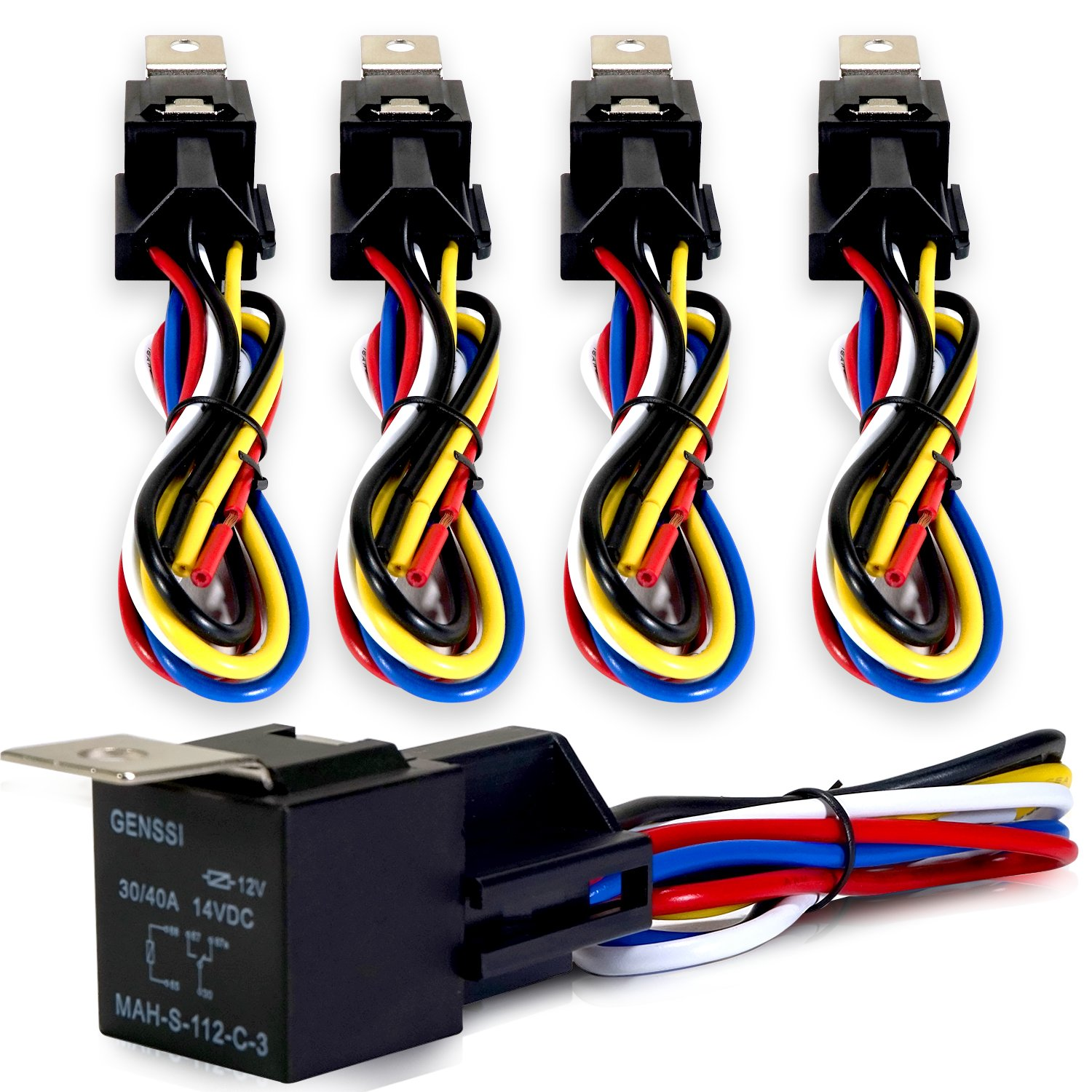 Buy Genssi 30 40 Amp Relay And Wire Harness Spdt 12v 40a Durable Composite Wiring Pack Of