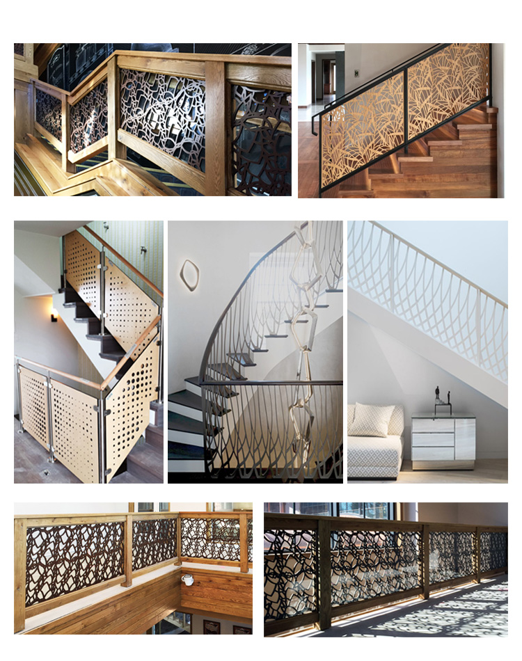 Laser cut metal panel fence for stair-decorated metal panels, decorative metal fences