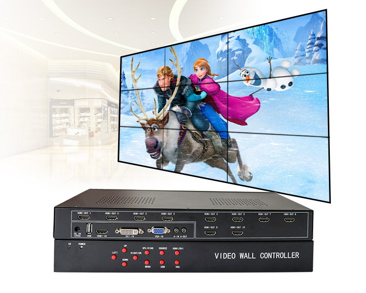 3*3 video wall controller for 9 tv video wall display dvi hdmi vga input hdmi output processor