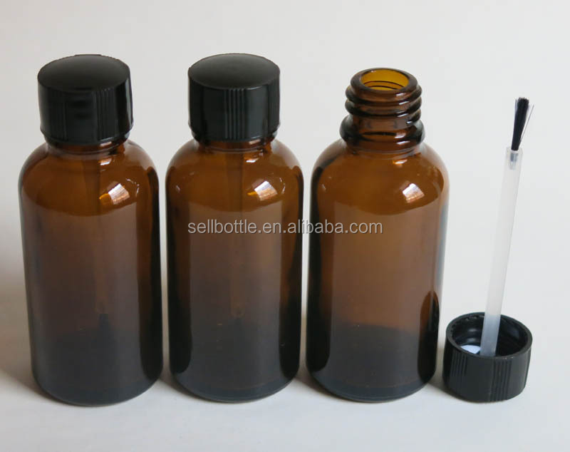 Stock 30ML amber empty essential oil cosmetic massage oil package glass bottle with brush