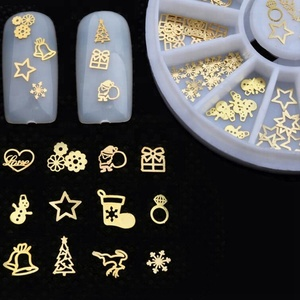 Mixed Design Golden Color Nail Art Thin Metal Christmas Nail Art Decorations With Wheel Box Package