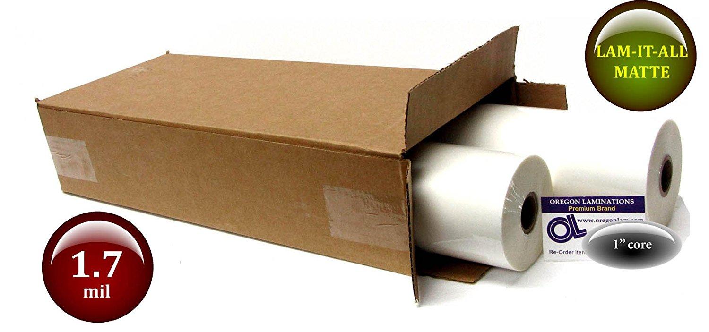LAM-IT-ALL Low Melt Laminating Film 18-inch x 500-feet x 1-inch core (2 Rolls) 1.7 Mil Matte-Satin