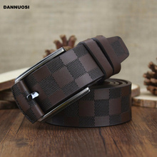 2014 new 100% high quality men's leather belt men's plaid casual fashion belt luxury pure leather belt