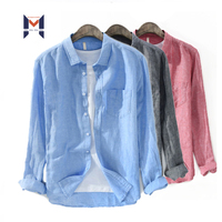 2020 Foreign Trade Cotton Men Long Sleeves Linen Shirt