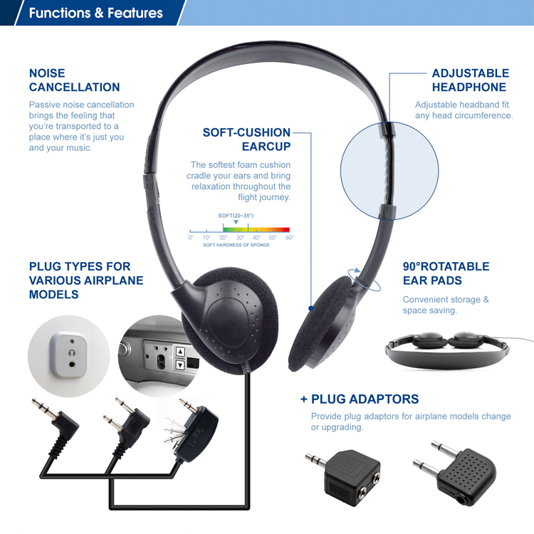 FRSE014 best airline mobile headset headphone earphone