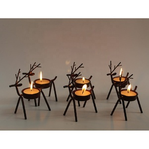 Christmas metal wire deer shape tealight candle holder
