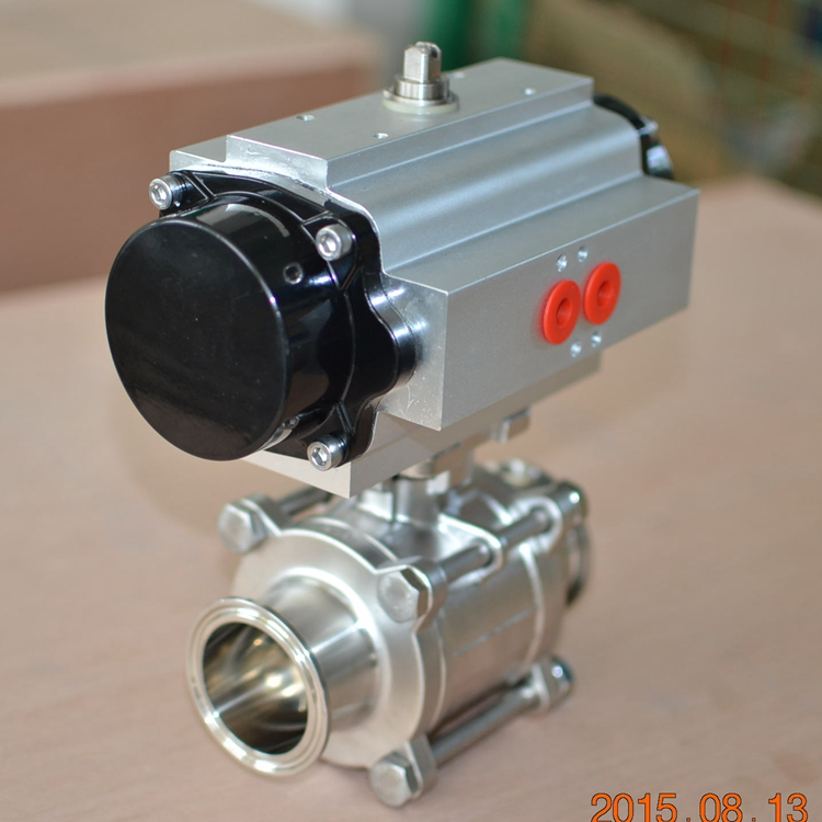 3 pcs stainless steel all inclusive sanitary ball valve with pneumatic actuator