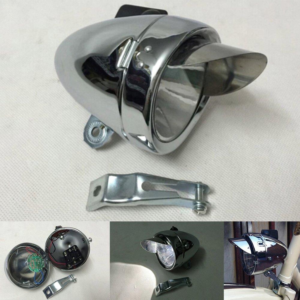 8e8c21aa13c Get Quotations · GOODKSSOP 180lm Vintage Retro Chrome Bicycle Bike LED  Headlight Front Fog Head Light Lamp Silver