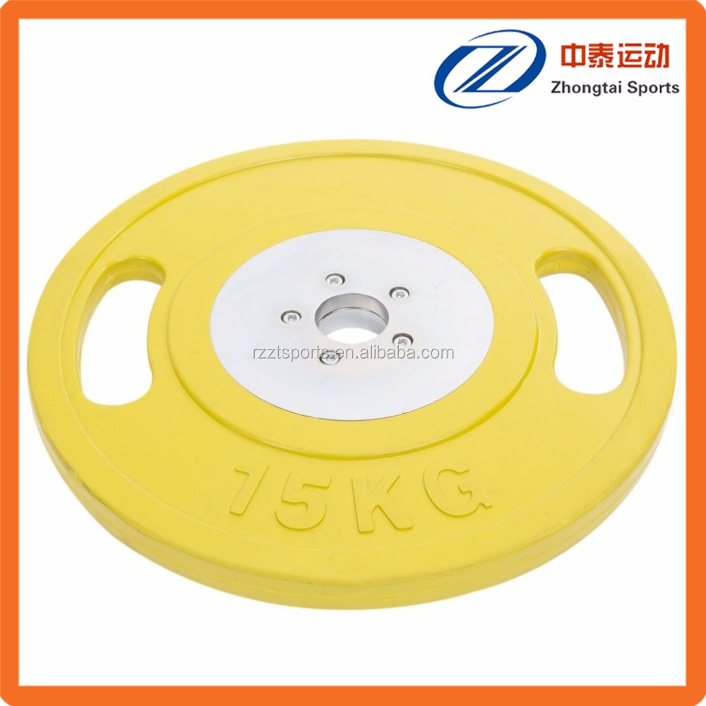 oly competition grade two handle rubber weight plates
