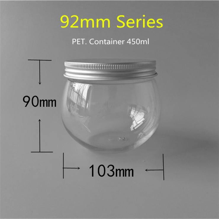 450ml Clear Round Ice Cream Plastic Containers With 92mm Series Aluminum Screw Cap