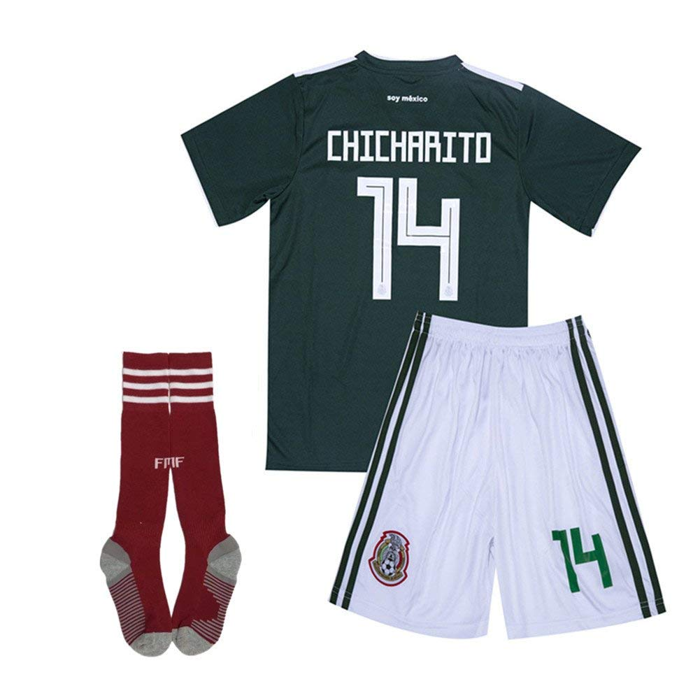f3c2cf7e613 Get Quotations ·  14 Chicharito Mexico National Homer Soccer Jersey    Shorts   Socks Kids   Youth 2018