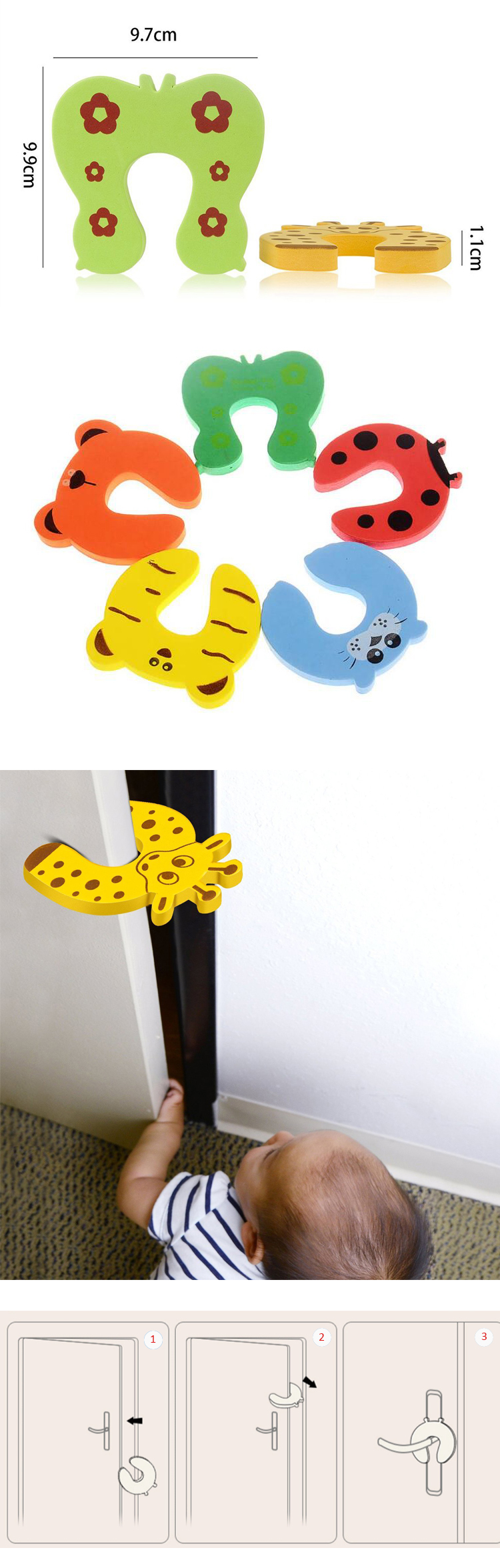 High Quality Baby Finger Guard Safety Eva Cute Door Stopper Eva Foam Door finger guard For Home Safety