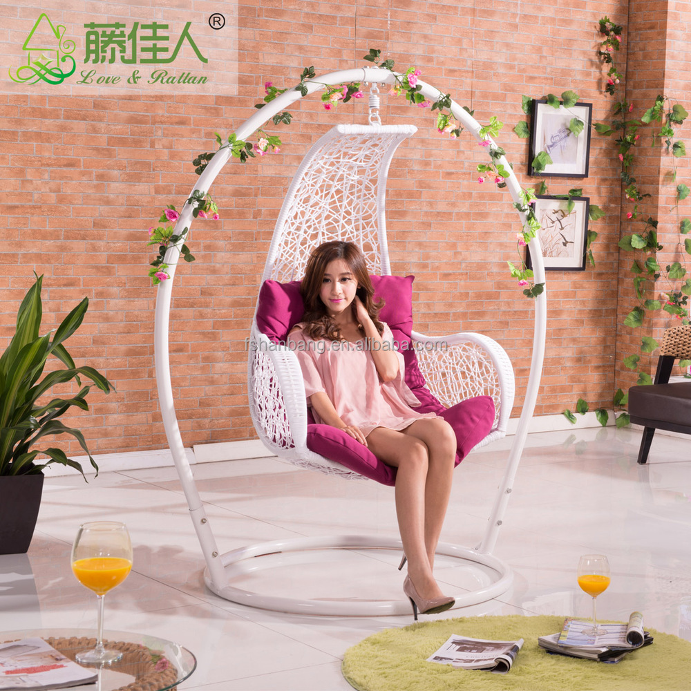 Real Natural Rattan Wicker Living Room Swing Hanging Egg with Stands