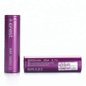 Highest POWER Vape Mods 35Amps Ecig 18650 Efest Purple 18650 3000MAH 3.6V Rechargeable IMR Li-ion battery