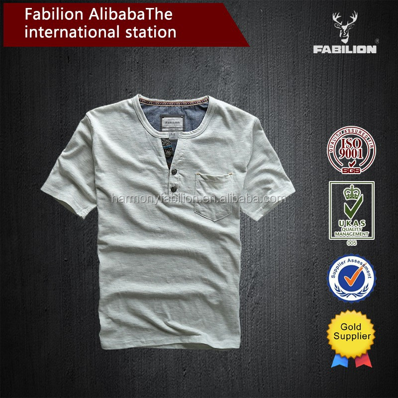 2017 new summer wear thin leisure cotton washing funnel collar T-shirt do old slubby yarn cultivate one's morality of blank t sh