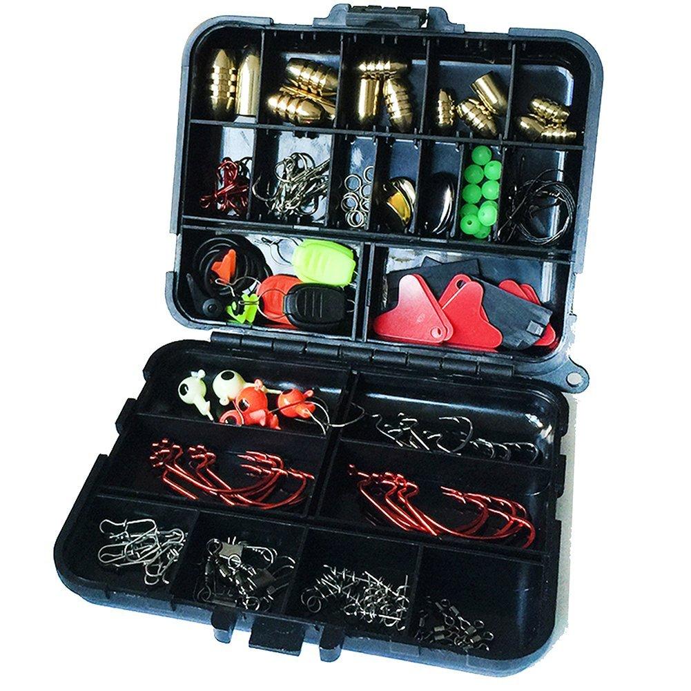 Oak-Pine 128Pcs/Set Fishing Accessories Set Carp Catfish Freshwater Saltwater Fishing Tackle Box - Hooks, Swivels, Double Loops, Spinners, Luminous Balls, Leaders, Line Stoppers, Jig Heads, Etc