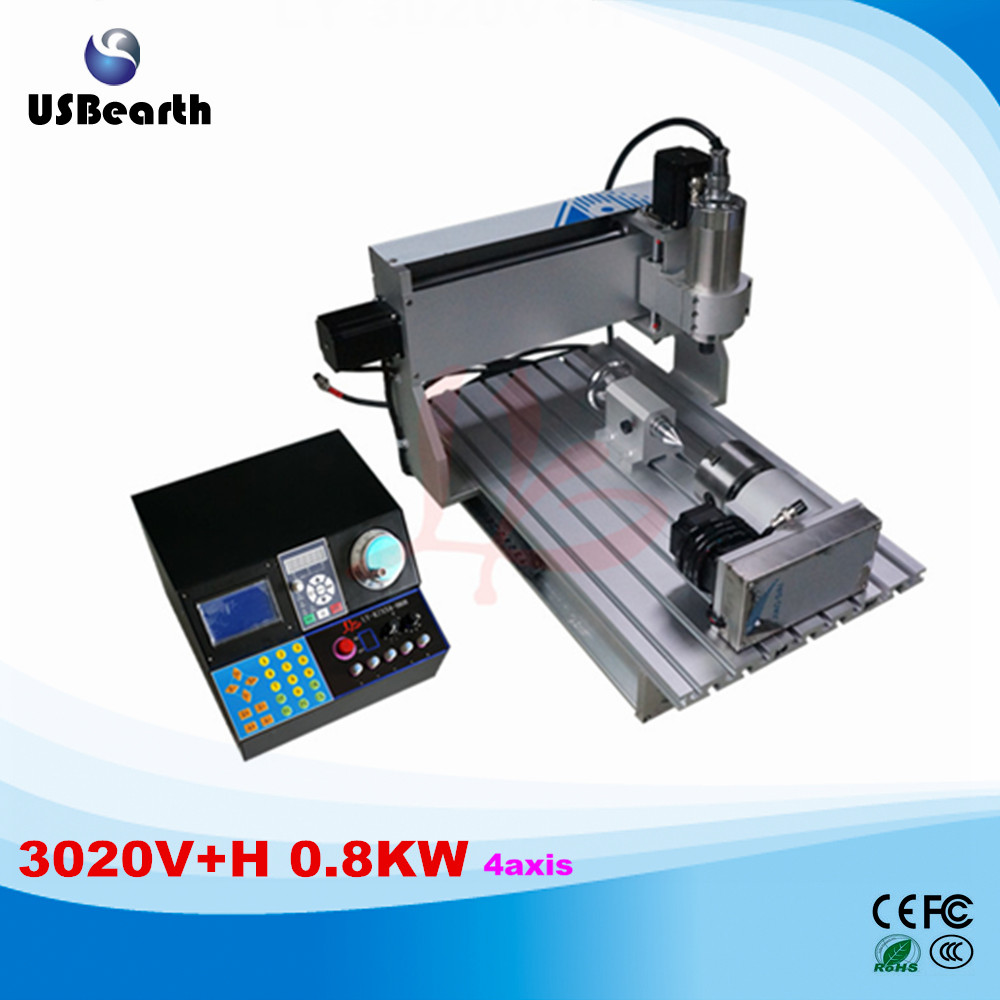 LY CNC Engraving machine CNC 3020 V+H 0.8KW 4axis Mini Desktop Wood Router PCB Engraving Drilling Milling Machine
