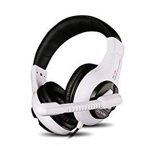 Darkiron Max 2015 New Professional 3.5mm Pc Gaming Stereo Headset Noise Canelling Headphones with Volume Control Microphone for Online Gaming, Pc Computer Game ,Desktop Pcs, Laptops (X3-White/black)