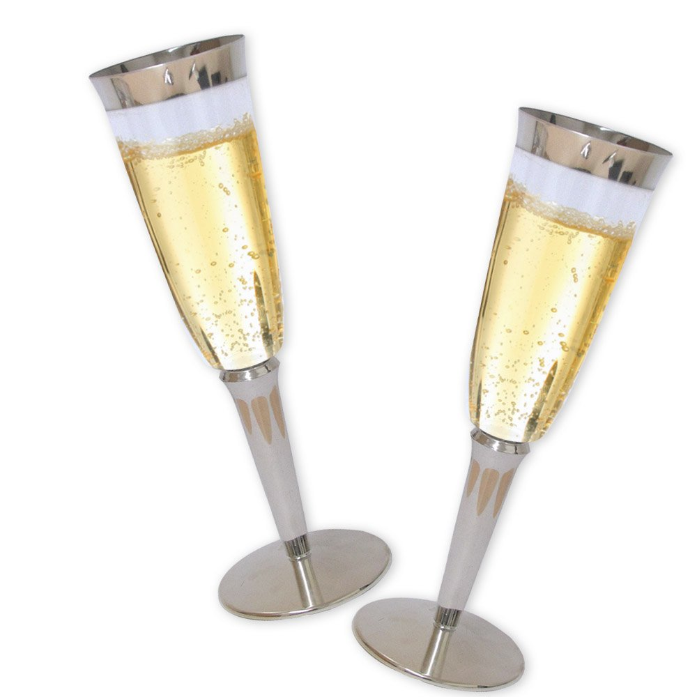 19af23c0668 Get Quotations · High Quality Hard Plastic Champagne Flutes With Silver Rim  And Base. 6 Ounce Capacity