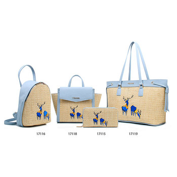 New Summer Bags Lowest Price 4pcs Set Straw Handbag And Wallet