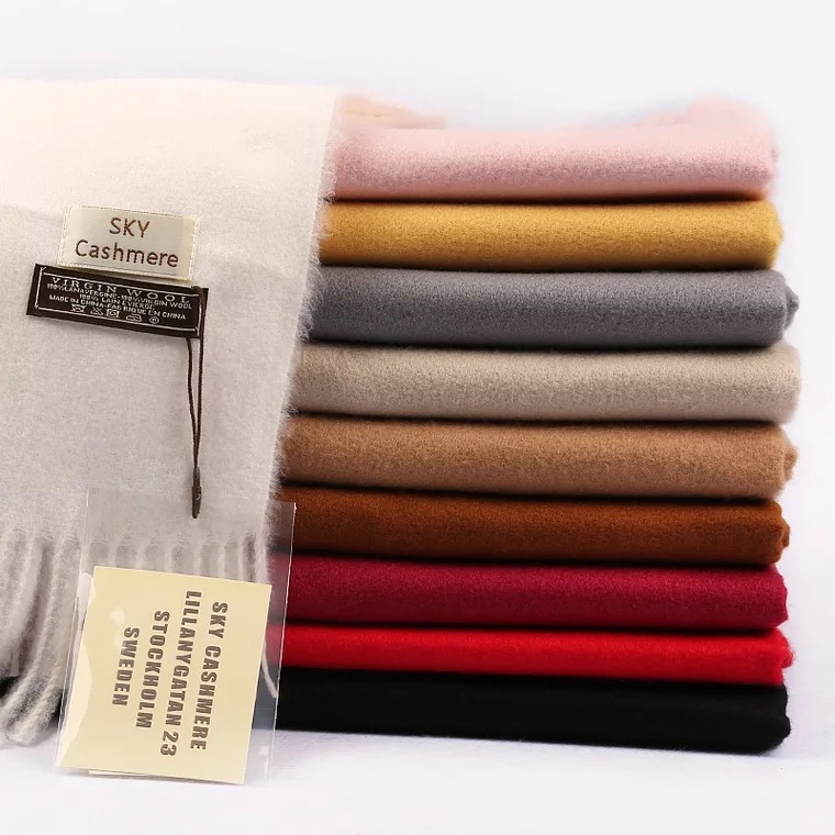 Factory wholesale warm plain shawls 350g pashmina winter wool solid color cashmere <strong>scarf</strong> 2018