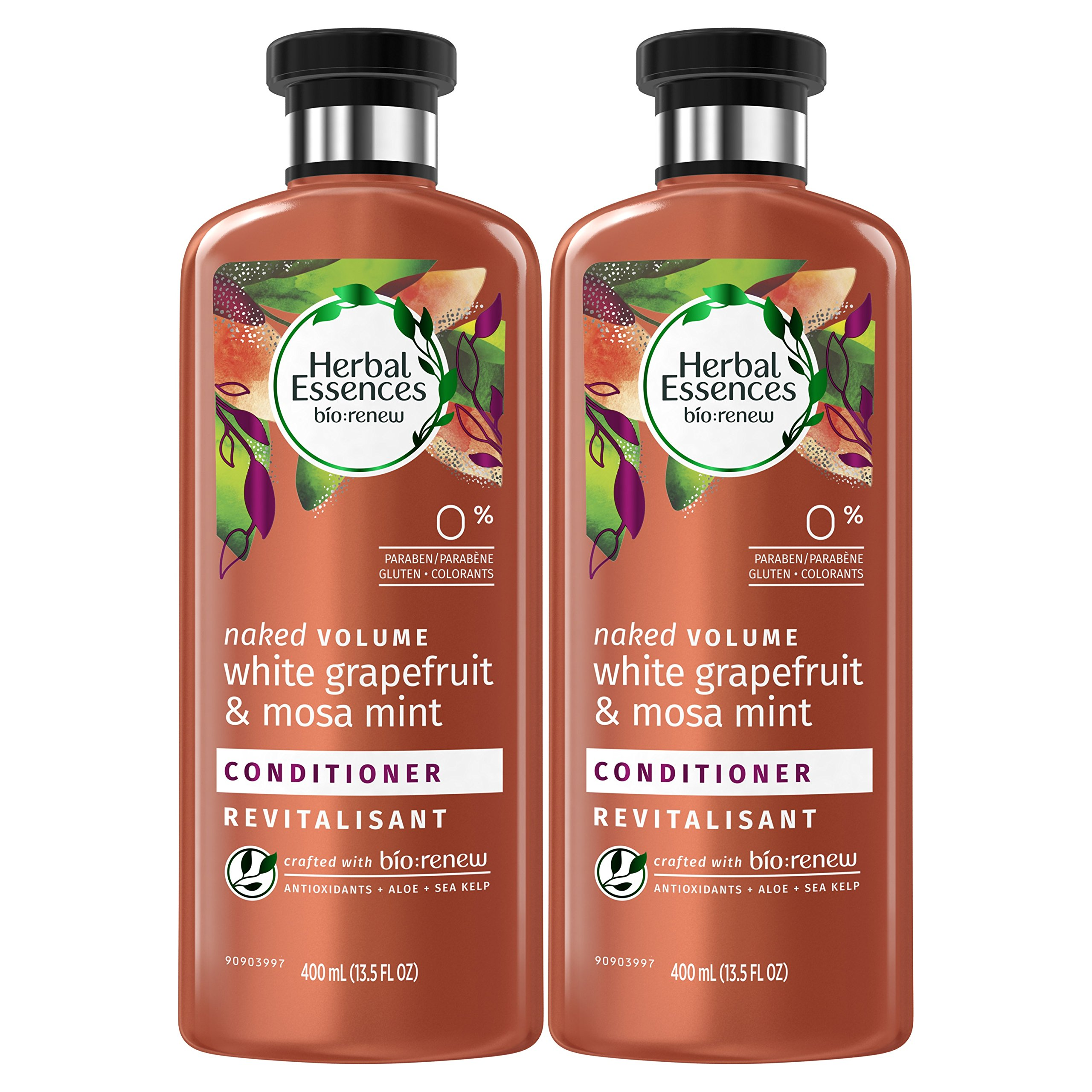 Herbal Essences Bio:renew White Grapefruit & Mosa Mint Naked Volume Conditioner, 13.5 Fluid Ounces Paraben Free (Pack of 2)