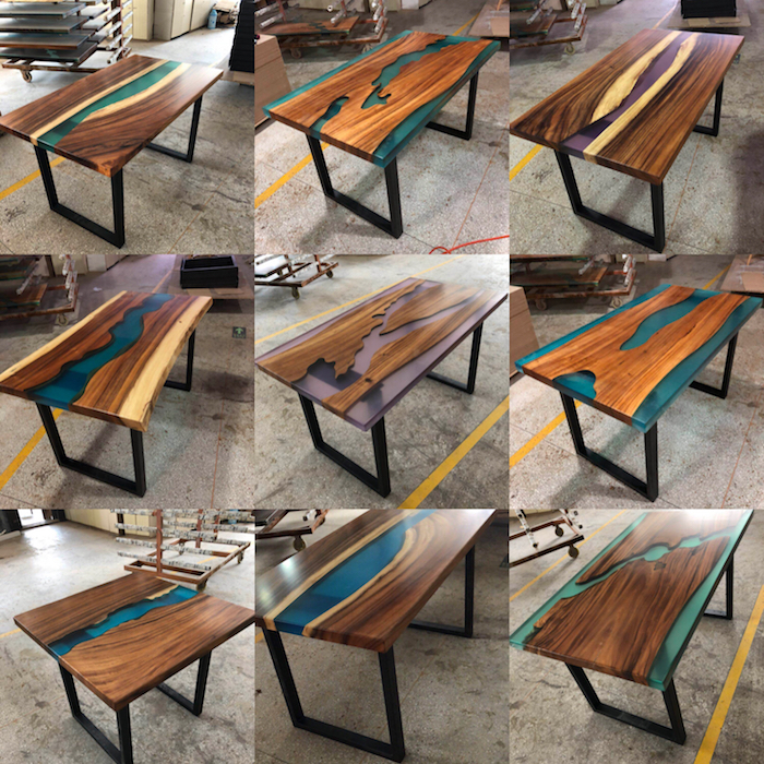 South American Black Walnut Solid Wood Dining Tables Top Blue Transparent  River Resin Rectangular Wood Epoxy Resin Table - Buy South American Black
