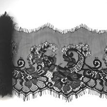 ( 14 cm de largura ) 3 metros preto cílios guarnição do laço DIY costura Applique para vestido de renda francesa Chantilly tecido de renda líquida