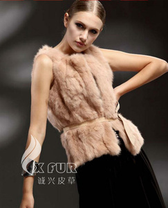 CX-G-B-201D Cheap Rabbit Fur New Designs Waistcoat For Women
