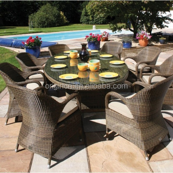 Antique curved armrest designed pool dining oval table and chairs rattan outdoor cane furniture india