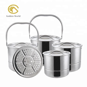 Multi Purpose Stainless Steel Cooking Pot Set with Steamer Rack