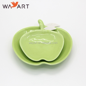 Apple Shaped Green Glaze Terracotta Dish Plate