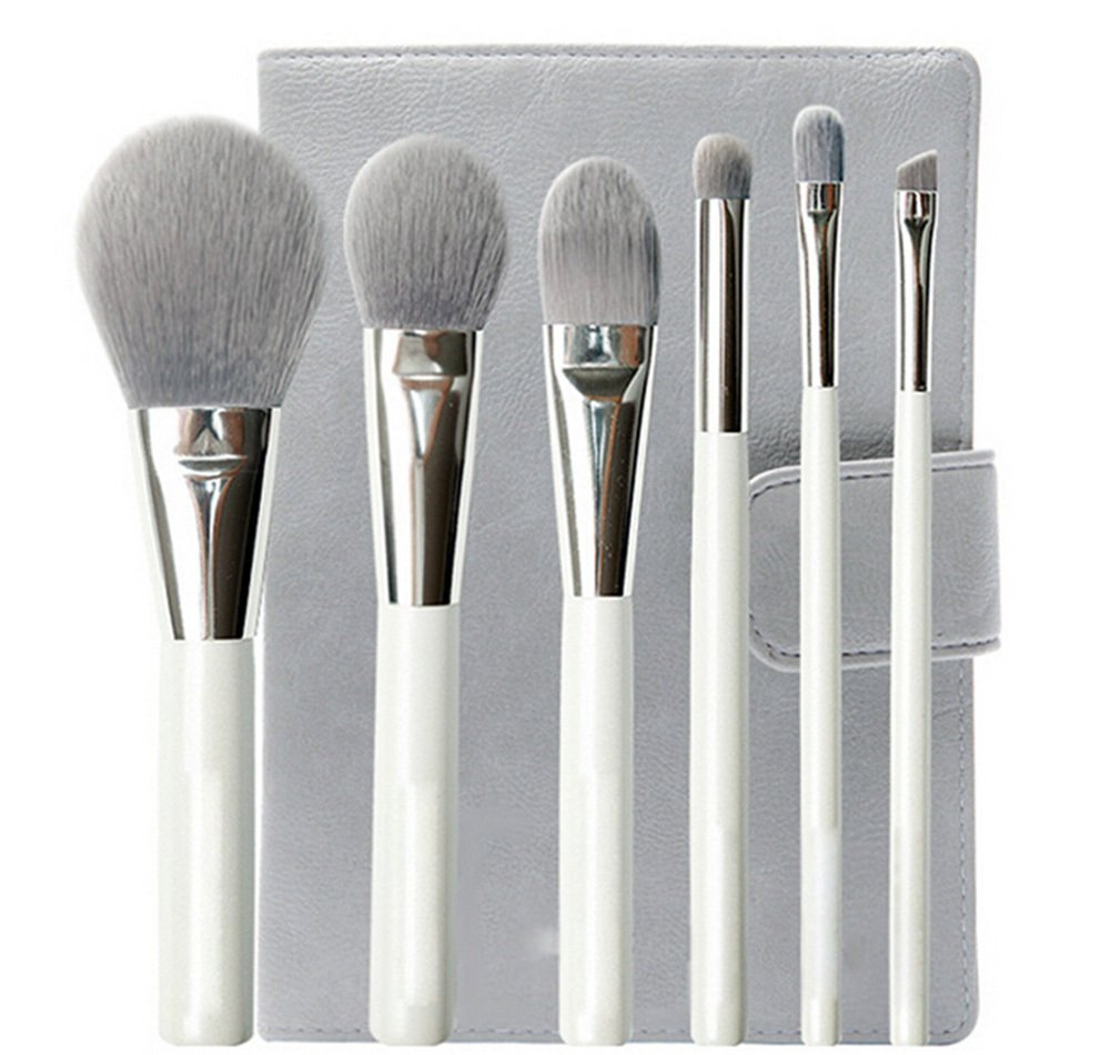 Get Quotations · Scheppend 6Pcs Bamboo Charcoal Fiber Cosmetics Brush Set with Portable PU Brush Bag