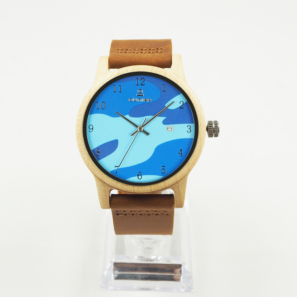 OEM promotional gifts New arrival wooden watch 2017 blue ocean wood watches with logo engraved
