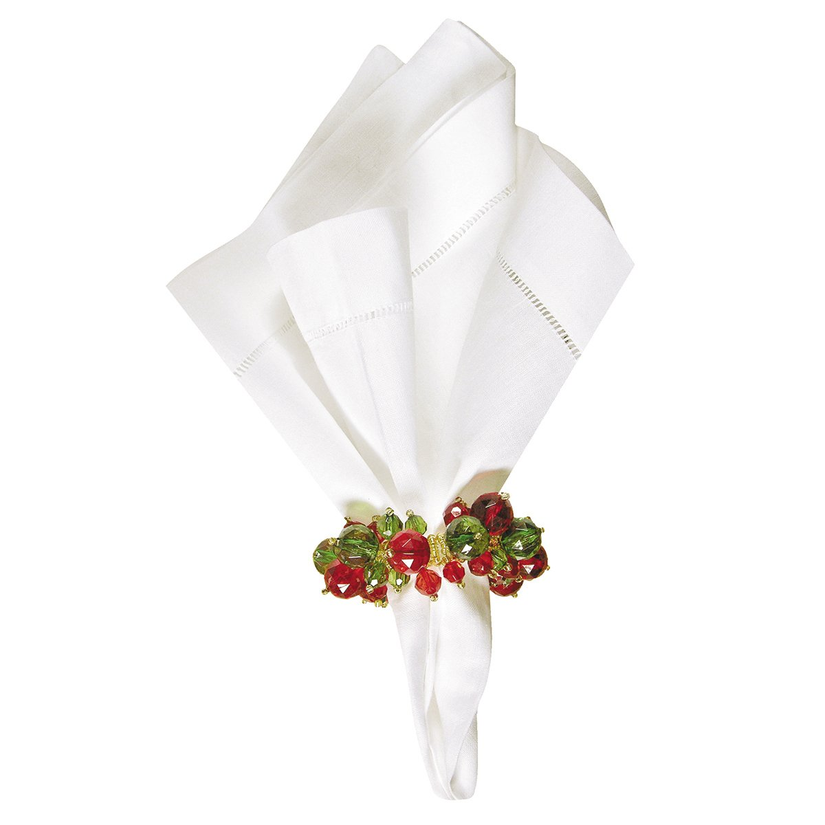 "C&F Home Set of 4 Pcs, 1.5"" Round Beaded Christmas Napkin Ring, Red, Green"