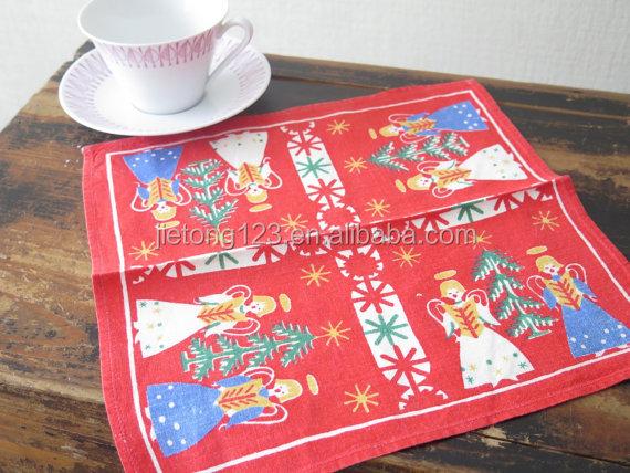 Vintage คริสต์มาสตารางผ้าเช็ดปากพิมพ์ภาษาสวีดิชตาราง Decor สีแดงสีฟ้าสีขาว Angels สีเขียวต้นไม้ดาวผ้าเช็ดตัวผ้ากันเปื้อน