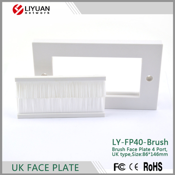 LY-FP40-Brush Brush Plate Decor Insert Cable Entry/Exit BRUSH Faceplate for Wall Outlet UK Double Gang BLACK faceplate