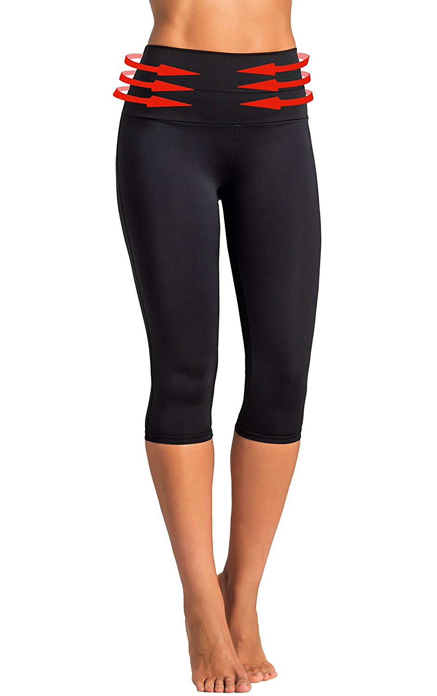 706d071a30 Gwinner Women s High Waist Yoga Capri Leggings Tummy Control Anti-Cellulite CLIMAline+